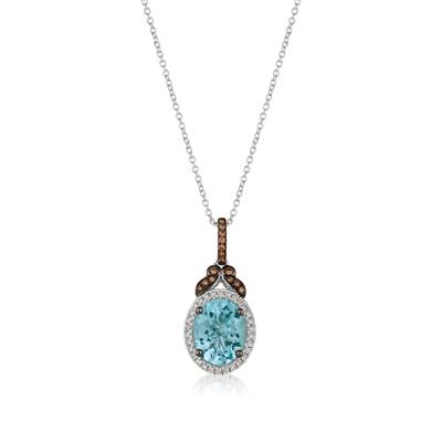 14K Vanilla Gold® Sea Blue Aquamarine® 2 cts. Pendant with Chocolate Diamonds® 1/15 cts., Vanilla Diamonds® 1/8 cts. | YRKT 30
